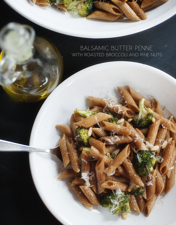 penne with roasted broccoli, pine nuts and balsamic butter | pretty ...