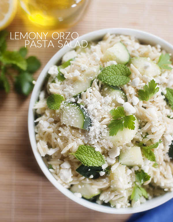 lemony orzo pasta with cucumber and feta | pretty plain janes