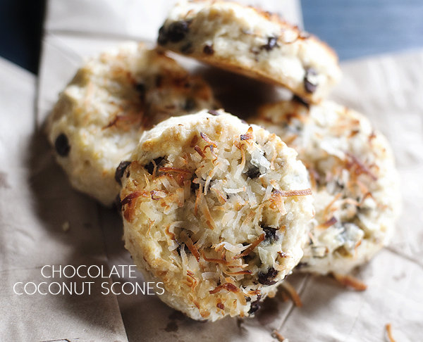 Chocolate Coconut Scones Recipe — Dishmaps