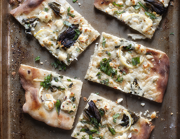 lemon, basil, asiago and goat cheese pizza | pretty plain janes