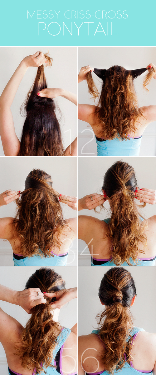 messy criss-cross ponytail