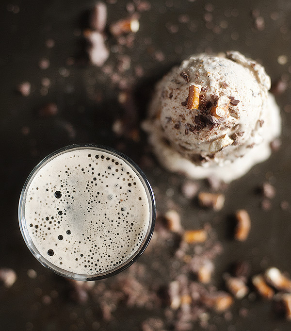 Coffee Stout Ice Cream with Chocolate Covered Pretzels