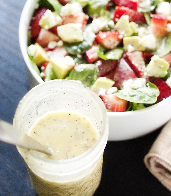 Strawberry, Avocado & Spinach Salad with Feta and Poppy Seed Dressing