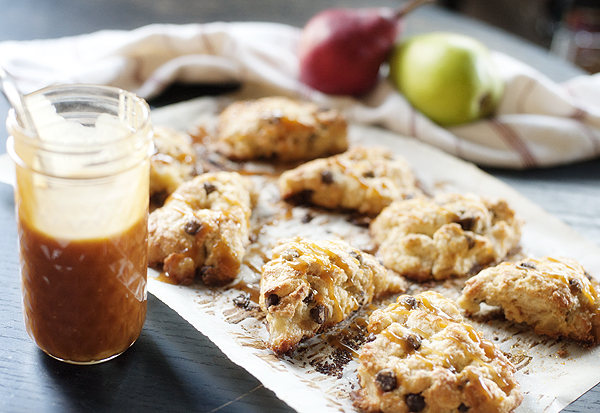 Roasted Pear & Chocolate Chip Scones with Salted Caramel Sauce