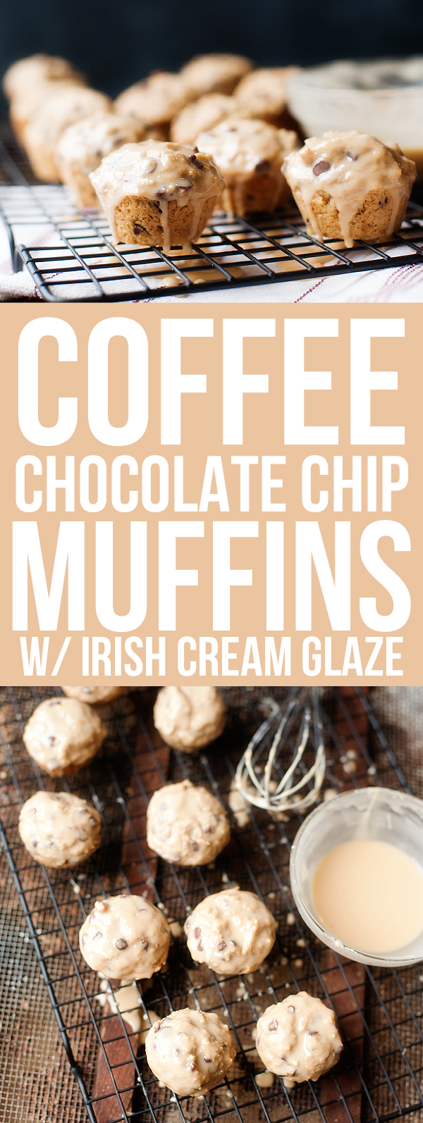 Coffee Chocolate Chip Muffins with Irish Cream Glaze