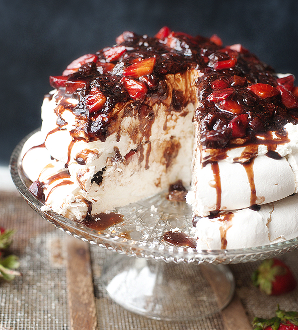 pavlova with mascarpone whipped cream & balsamic strawberry sauce