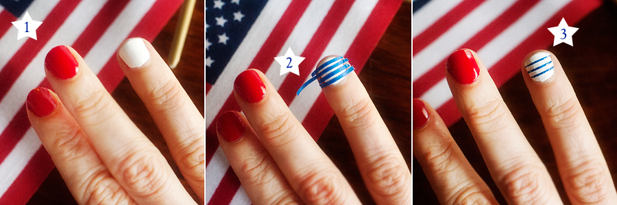 easy red, white and blue nails | www.prettyplainjanes.com